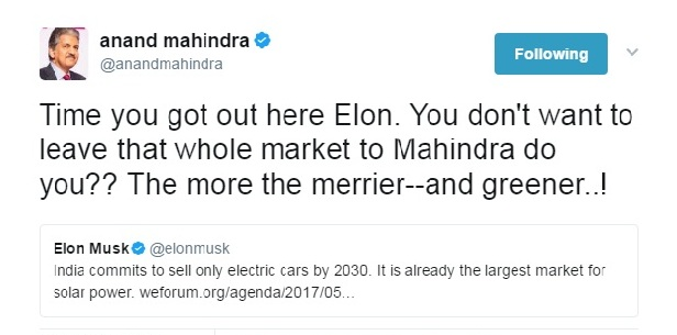 Twee reply by Anand Mahindra